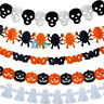 Scary 3M Hanging Paper Skull Pumpkin Garland Spider Ghost Halloween Party Decor