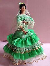 Marin Chiclana Spanish Costume Doll Green Flamenco Dress Female Figure