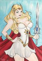 "She-Ra (9""x12"") Original Art Comic Sexy Pinup By A. Tavares - Ed Benes Studio"