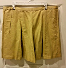 NWT J.Crew Factory Women's Mustard Linen/Cotton Pleated Flare Tennis Skirt Sz 14