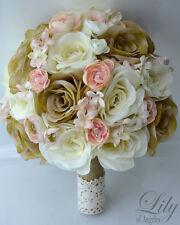 17 Piece Package Wedding Bridal Bouquet Silk Flower Decoration BLUSH PEACH IVORY