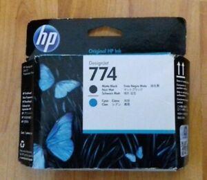 GENUINE HP 774 P2W01A, MATTE BLACK & CYAN PRINTHEAD / PRINT HEAD. DATE 2020, NEW