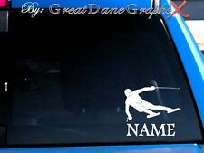 Skier Downhill Skiing Style #2 PERSONALIZE Vinyl Decal Sticker -Color-