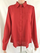 NWT Express Women's Long Sleeve Polyester Shirt, Mars Red 297, size XL