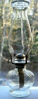 Vintage Original Chimney Wick Glass Oil Lamp 13 1/2""