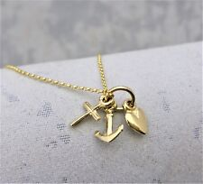 """9ct Solid 3D Yellow gold charm """"Faith, Hope & Charity"""""""