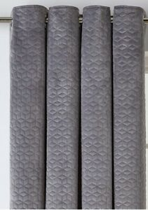 "Argos Home Velvet Fully Lined Eyelet Curtains - 168 x 183cm  66x72"" - Smoke Grey"