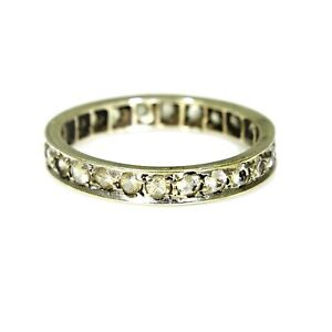 Vintage 9ct White Gold Spinel Full Eternity Ring Size 7 3/4 - P