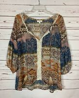 Umgee USA Boutique Women's S Small Brown Boho Feather Lace Fall Top Blouse Shirt