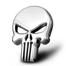 Auto Car Motorcycle Metal 3D Chrome Punisher Skull Gas Tank Decal Sticker Emblem