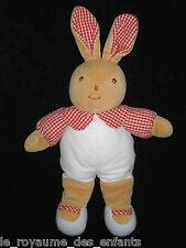 Doudou Peluche lapin marron beige blanc rouge vichy carreaux Takinou Nounours