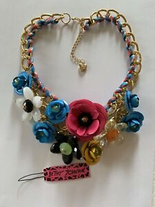 Betsey Johnson Bling Crystal Colorful Flower Sweater Chain Necklace-BJ50000