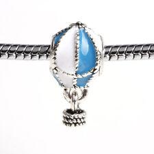 2pcs Hot air balloon Blue Paint Silver Charm Bead suit Necklace Bracelet Chain