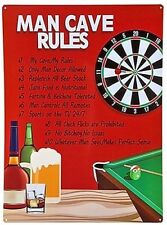 Man Cave Rules Large Tin Sign Pub Sports Room Games Pool Darts Metal Plaque Gift