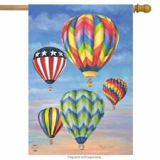 COLORFUL HOT AIR BALLOONS PATRIOTIC SUMMER HOUSE FLAG 28X40 BANNER