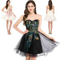 GK Women Strapless Soft Tulle Ball Cocktail Evening Prom Party Black/Ivory Dress