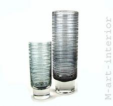 Modernist set 2 Design cilindro de vidrio jarrón espiral decoración gallo Glass Sweden 1960s