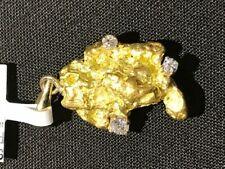 UNIQUE GORGEOUS ALASKAN GOLD NUGGET PENDANT WITH DIAMONDS