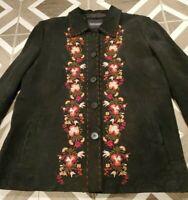 Bernardo Women's Sz XL Black Suede Leather Embroidered Front Button Jacket Coat