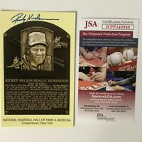 Autographed/Signed RICKEY HENDERSON HOF Hall Of Fame Plaque Postcard JSA COA