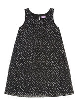 BNWT, Girls, Spot Print, Dress, Black, with, White Polka Dots, Size 8-9 Years