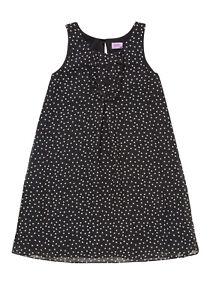 BNWT, Girls, Spot Print, Dress, Black, with, White Polka Dots, Size 8-9 Years