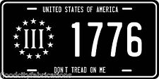 3 PERCENTER 3 % 1776 License Plate BLACK ALUMINUM DONT TREAD ON ME AMERICA USA