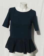 3 THREE DOTS USA Teal Cotton Jersey Woven Peplum Half Sleeve Tee Shirt Top S M