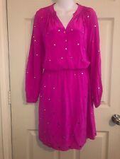 💕Lily Pulitzer Fuschia Boho Hippie Coachella Silk Mirrored Elastic Waist Dress