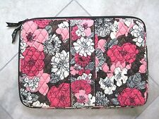 "Vera Bradley 17""  Red White Pink Floral Laptop Sleeve Case Bag USED"