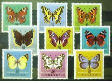 POLAND STAMPS MNH 2Fi1650-58 Sc1542-50 Mi1797-05 - Butterflies, 1967, **
