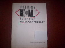 1992 Schwinn Dealer Red Ball Express Price List