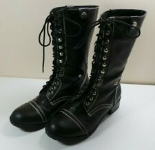 Women's Maurices Black Faux Leather Combat Boots Lace Up Size 10