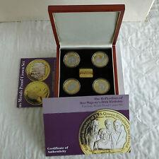 QEII 80th Cumpleaños 4x plata prueba de conjunto en capas con oro puro/rodio platino