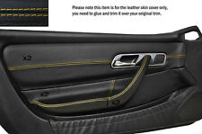 YELLOW STITCH 2X FRONT DOOR CARD TRIMS SKIN COVERS FITS MERCEDES SLK R170 96-04
