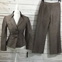 Tahari ASL Women's 2PC Pant Suit Brown Blazer Buttons size 4 NWT Retail $280