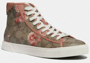 Coach Women's C207 High Top Sneaker Shoes Floral Print Signature Coated Canvas