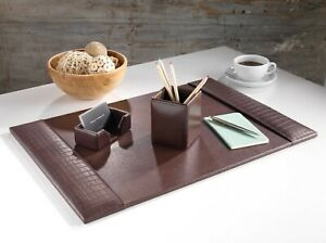 BROWN CROCODILE LEATHER HANDMADE DESK PAD BLOTTER CORPORATE GIFT HOME OFFICE