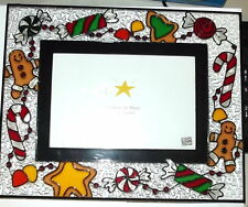 CHRISTMAS PICTURE FRAME~ stained glass CANDY CANES hand painted ~US  SELLER