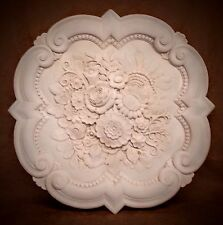 "23"" Victorian Queen Ann Reproduction Flower Roses Plaster Ceiling Medallion"