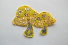 "#6107 3-3/4"" Yellow,White Sequin Mushroom Embroidery Iron On Applique Patch"