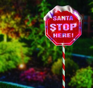 110cm Tall Santa Stop Here CHRISTMAS Solar LED Outdoor Light Garden Sign