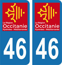 Département 46 - 2 autocollants style immatriculation AUTO PLAQUE OCCITANIE 2018