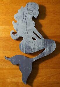 "12"" Distressed Wood Mermaid Wall Art Sculpture Beach Home Decor Sign Navy Blue"