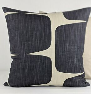 Scion Lohko Retro Scandinavian Fabric Pillow/Cushion Cover Liquorice/Hemp