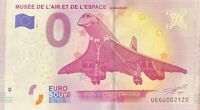 BILLET 0  EURO MUSEE DE L'AIR  ET DE L'ESPACE CONCORDE  FRANCE   NUMERO DIVERS