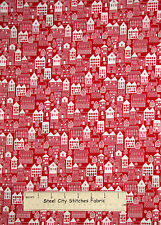 Christmas Neighborhood Houses Red Cotton Fabric Studio E Winter Essentials YARD
