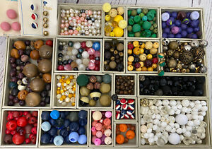 885PC Vintage Antique Ball Round Button LOT Bakelite Glass Wood Fabric Celluloid