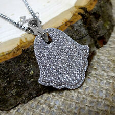 Crystal Pave Hamsa Pendant .925 Silver Necklace