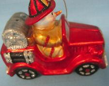 Snowman Fireman Firetruck Emergency Red Black Christmas Holiday Glass Ornament